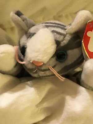 TY Beanie Babies PRANCE Gray CAT 1997 Original RETIRED collectible FREE SHIPPING