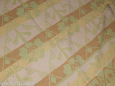 ANTIQUE  iNDIAN FLOWERS AND GEOMETRIC DESIGN REVERSIBLE  BLANKET, PASTEL COLORS