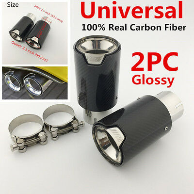 2x Real Carbon Fiber Steel Exhaust Tip 2.5'' in, 3.5'' out for BMW 3 Series F30