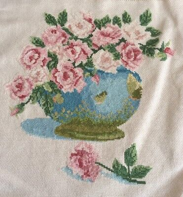 Beautiful Finished X Stitch Bowl Of Roses 32 X 34 Cm