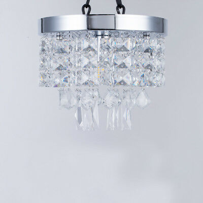 Crystal Droplets Silver Chrome Ceiling Pendant Light Chandelier Fitting Lamp NEW