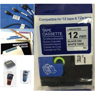 """12mm/0.47"""" Label Tape Compatible Brother P-Touch TZ231 TZe231 Black on White"""