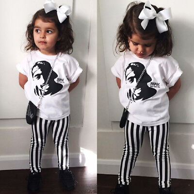 USA Toddler Baby Kids Girls Tops T Shirt Striped Pants Outfits Set Clothes 1-5T