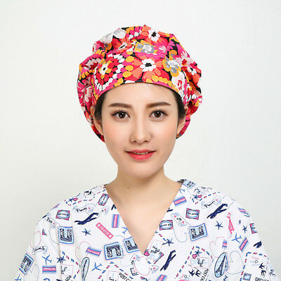 Women's Flowers Pattern Bouffant Surgical Hat Surgery Medical Scrub Cap Scarf