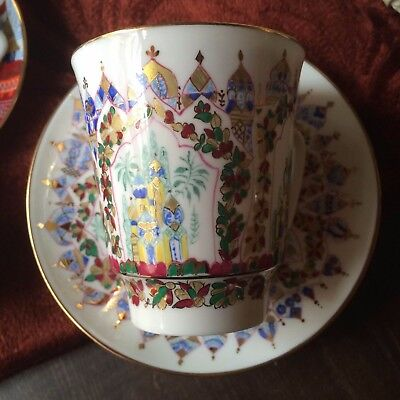 "Porcelain coffee cup and saucer set ""Palaces of Shaherizade"" Lomonosov Russia24К"