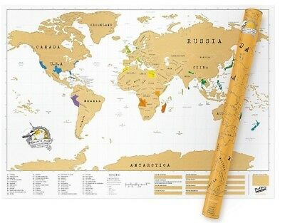 Deluxe Scratch Off Large Size World Map Personalised Travel Where You have been