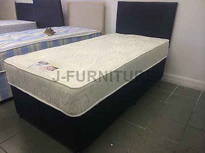 Small Or Standard Single Divan Bed With Black Base And Faux Leather Headboard!