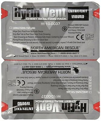 North American Rescue Chest Seal Twin Pack with 3-vent Channels Rescue Hyfin NE