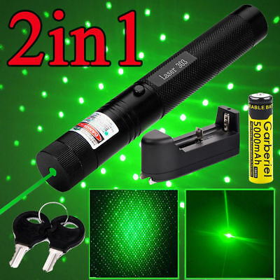 10Miles 532nm 303 Green Laser Pointer Laser Pen Visible Beam Light+18650+Charger