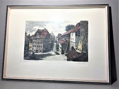 Nürnberg alte Turmgasse Lithographie farbig signiert /R23/9