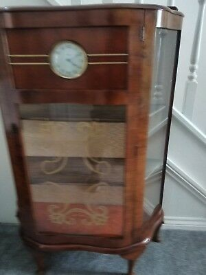 Vintage Art Deco Walnut Display Cabinet With Smiths Clock fully working