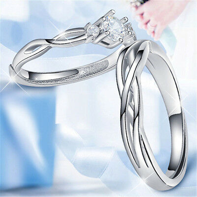 Men&Women Silver Opening Ring White Crystal Plated Couple Lovers Jewelry Fashion