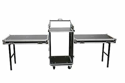 16 Space + 10u Mixer Top Work Station DJ Rack Road Case w/Wheels + Side Tables