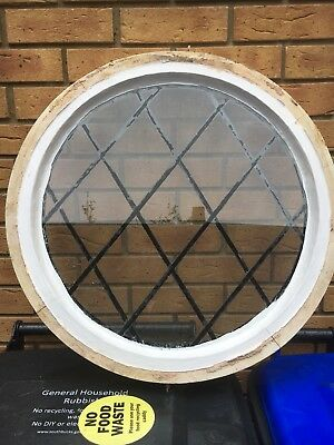 Wooden Porthole Leaded Glass Window, Period Old Reclaimed