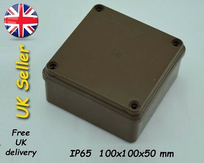 Electrical junction box weatherproof adaptable box 100x100x50mm IP65 Brown