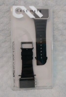 For Apple Watch 42mm Replacement Band Case-Mate Black Signature Leather Strap