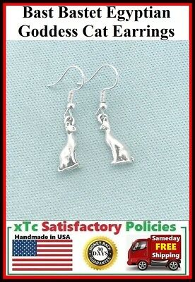 Bast Bastet Egyptian Goddess 3D Cat Handcrafted Silver Dangle Earrings.