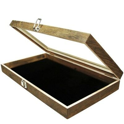 Display Box Wood With Glass Top Lid Black Pad Case Medals Awards Jewelry Oak New