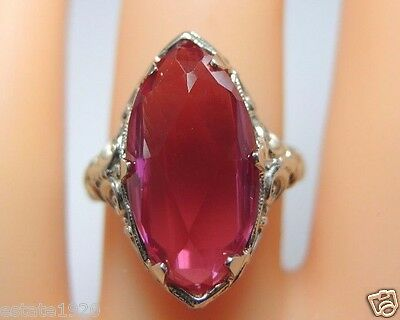 Antique Art Deco Synthetic Ruby Engagement 14K White Gold Ring Size 6.75 UK-N
