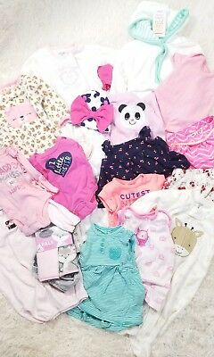 Huge mix lot baby girl clothes infant newborn to 3m outfits summer to fall N2