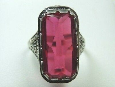 Antique Art Deco Synthetic Ruby Engagement 14K White Gold Ring Size 5.75 UK-L