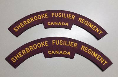Reproduction printed/canvas Sherbrooke Fusilier Regiment shoulder titles/flash