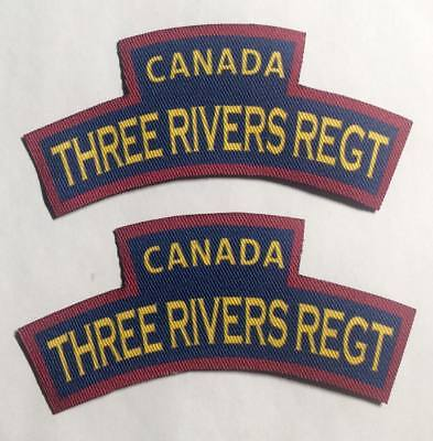 Reproduction printed/canvas Three Rivers Regiment shoulder titles/flash