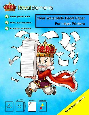 Royal Elements Waterslide Decal Paper - INKJET CLEAR 20 Sheets Premium Water Sli