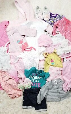 Huge mix lot baby girl clothes infant newborn to 3m outfits summer to fall N3