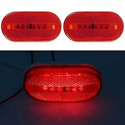 1 Pair of Red Oblong Clearance/Side Marker light w/ White Base For Camper Boat