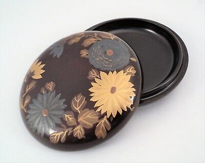 """Antique Japanese Small Lacquer Kogo Incense Box Gold & Silver Chrysanthemums 2"""""""