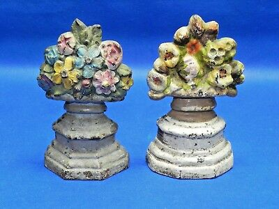 """Pair of Vintage Cast Iron Flower Vase Doorstop Bookends 6""""Tall"""