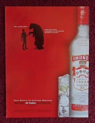 2000 Print Ad Smirnoff Vodka ~ Bear wants to Eat You SHADOW ART