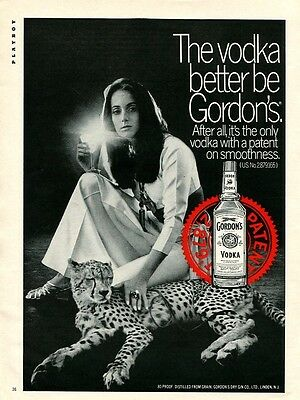 1969 Print Ad Gordon's Vodka ~ Pretty Girl Shining Glass w/ Cheetah
