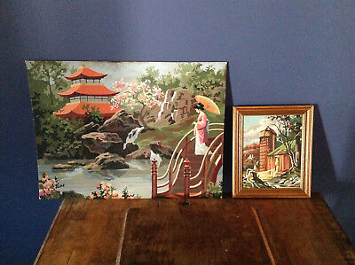 Vintage paint by numbers pictures x 2