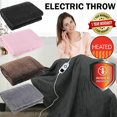 NEW CHARCOAL DARK GRAY Heated Electric Throw Rug Snuggle Blanket 9 Heat Settings