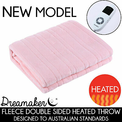 PINK LIGHT Washable Heated Electric Throw Rug Snuggle Blanket 9 Settings SALE