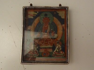 Antique Tibetan Buddhist Copper Gau Pendant Amulet Box With Thangka Painting