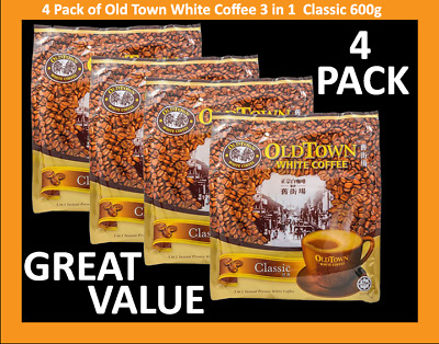Old Town Coffee 3 in 1 White Coffee Classic 570g x 4 Pkt (Total 4x570g=2.280kg)
