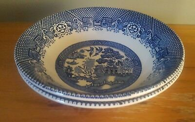 2 Woods Ware Blue Willow Breakfast Bowls Wood & Sons