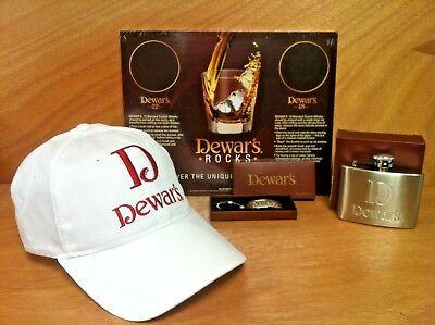 Dewar's Scotch Whisky Promo Pack Callaway Hat - 4 oz SS Flask - Keyring NEW & FS