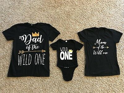 50a85cd1 WILD ONE YEAR Old Baby One-piece 1st Birthday W/Mom And Dad Shirts ...