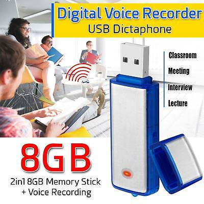 2 in 1 Spy Recording Device 8GB USB Digital Dictaphone Rechargeable Flash Stick