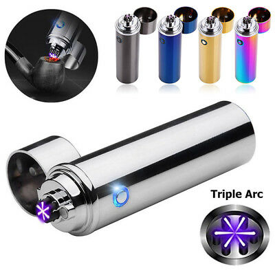 Electric USB Rechargeable Triple Arc 6Cross Plasma Windproof Flameless Lighter U
