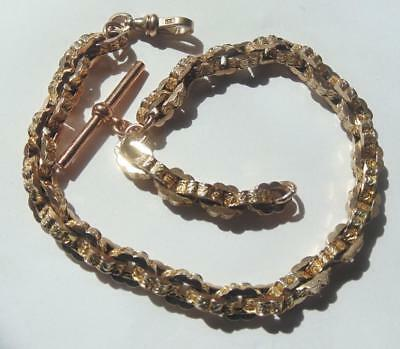 Antique Victorian 9 Carat Gold Watch Chain Bracelet Weight 41 Grams