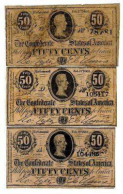 T-72 50c 1864 Confederate States of America Lot of 3 Notes VG/FINE