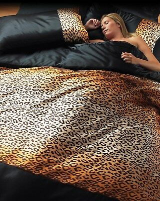 6Pc Leopard Print Silky Satin Bedding Set - Duvet Cover Fitted Sheet Pillowcases