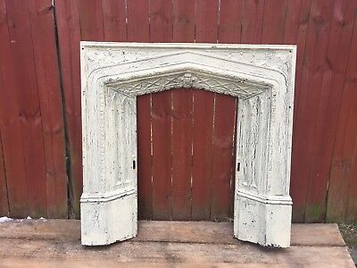Antique Cast Iron Fireplace Surround Architectural Salvage Cathedral Gothic Arch