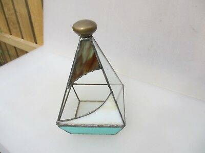 Vintage Terrarium Leaded Stained Glass Mini Greenhouse Planter Plant Pot Old
