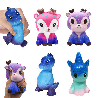 Jumbo Galaxy Deer Cream Scented Squishy Slow Rising Squeeze Strap Toy Gifts New